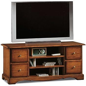 72 x 63 x 80 InHouse srls Mobile Porta TV ad Angolo,Arte povera Mis in Legno massello e MDF con rifinitura in Noce Lucido