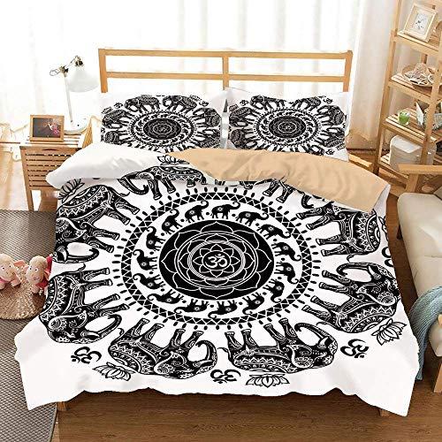 888 Elefant Mandala Khaki Bettbezug Set, ethnische asiatische Glaubensgeist Tiere Kreis mit floralen Paisley-Details, dekorative 3-teilige Bettwä schwarz und weiß