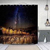 シャワーカーテン素晴らしい天の川アスペンの木と星空の秋の夜景写真 防水 目隠し 速乾 高級 ポリエステル生地 遮像 浴室 バスカーテン お風呂カーテン 間仕切りリング付のシャワーカーテン 150 x 180cm