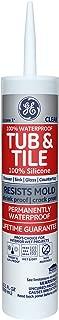 GE GE612 Silicone 1 Tub & Tile Sealant Caulk, 10.1oz, Clear