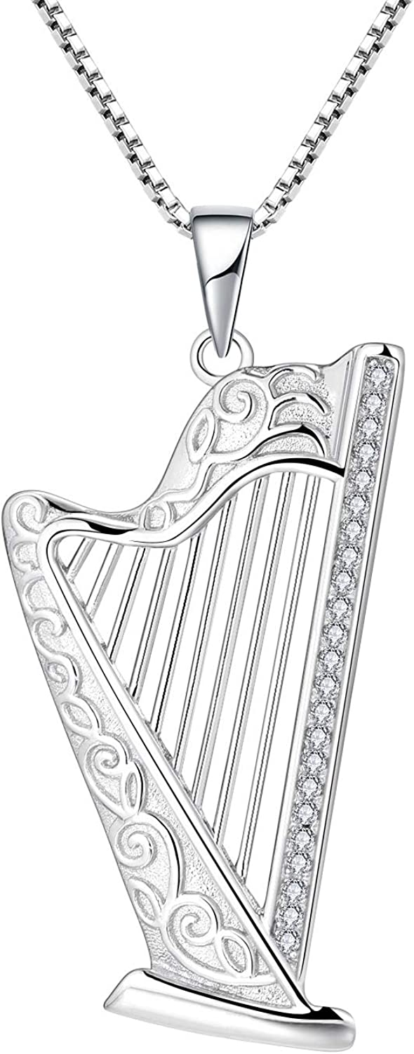 FJ Sterling Silver Harp Limited time for free shipping 2021new shipping free Ladies Necklace for Women