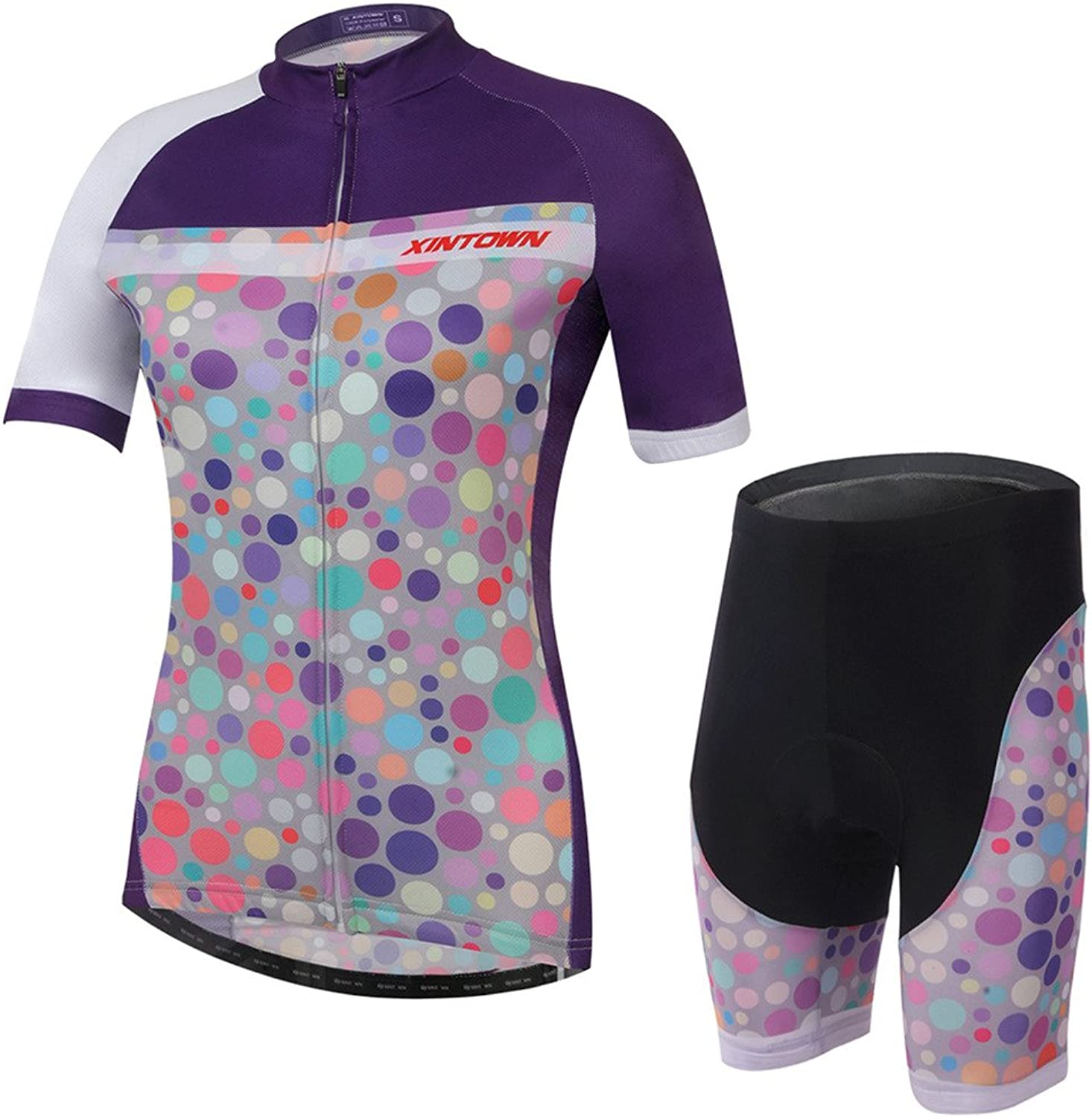 XINTOWN Women's Sports Short Sleeve Cycling Jersey and 3D Padded Shorts