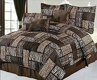 KingLinen 7 Piece Queen Safari Brown Patchwork Micro Suede Comforter Set