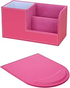 KINGFOM Pu Leather Multi-function Desk Organizer Offices Supplies Stationery Storage Box Pen/Pencil,Cell phone, Business Name Cards Remote Control Holder + Mouse Pad Pink