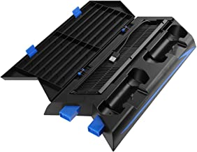 Vertical Stand with Cooling Fan for PS4 Slim / Regular PlayStation 4, Controllers Charging Station with Dual Charger Ports and USB HUB for Console Dualshock 4 Controller ( Not for PS4 Pro )