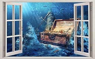 NIUASH Wall Sticker Pirate Treasure 3D Window Decal Wall Sticker Home Decor Art Mural 50x70cm