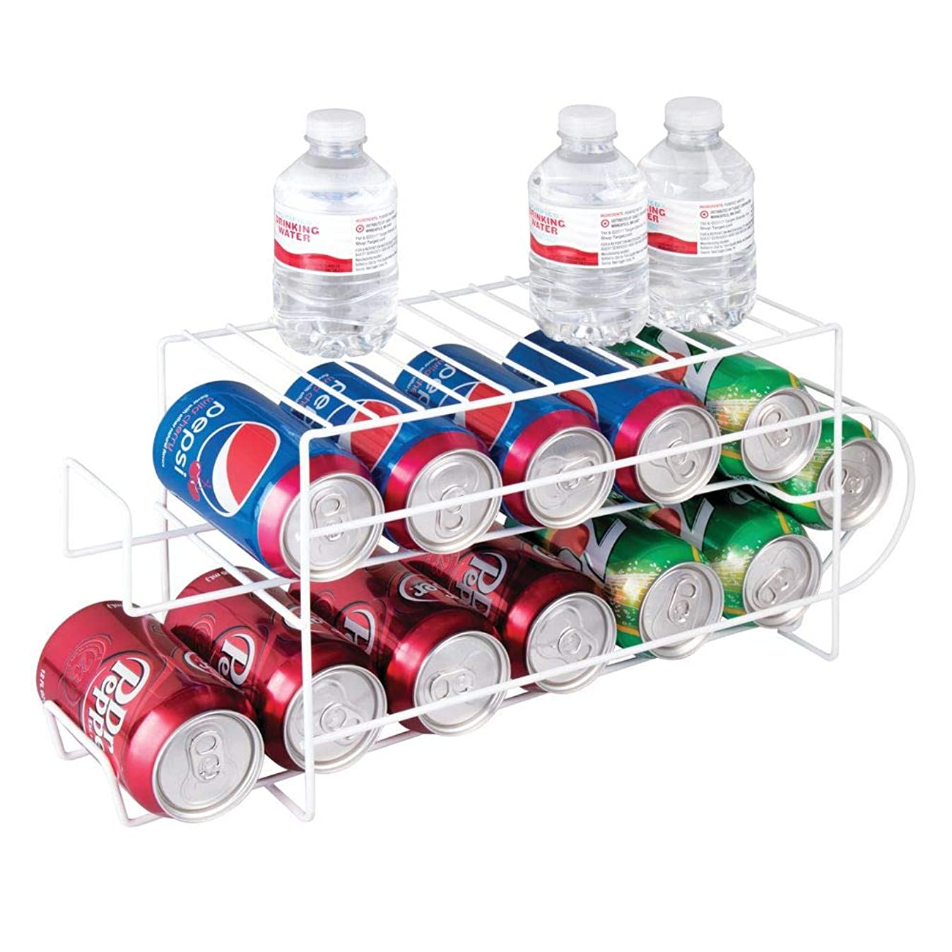 mDesign 2-Tier Metal Wire Standing Pop/Soda and Food Can Dispenser Storage Rack Organizer with Top Shelf for Kitchen Pantry, Countertop, Cabinet - Holds 12 Cans - White