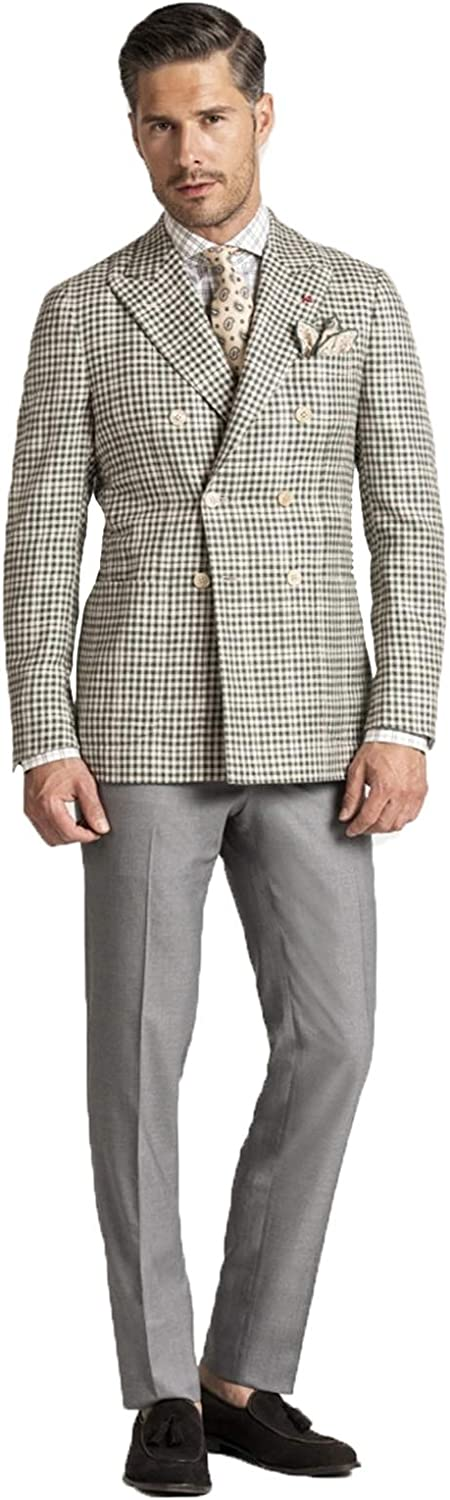 Men's Double Breasted Checkered Blazer Slim Fit Notched Lapel Two Buttons