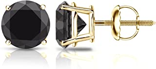 14k Gold Round Black Diamond Stud Earrings (1/2-4cttw) 4-Prong Basket Set with Screw-backs Diamond Wish