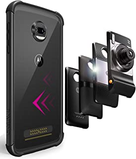 CaseWe – Motorola Moto Z2 Force Flexible TPU Protective Bumper Case Cover/Compatible with Moto Mods - All Black Matte