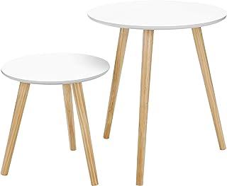 SONGMICS Mesas auxiliares nórdicas, Juego de 2 mesas de caf