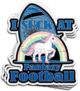3 PCs Stickers I Suck at Fantasy Football Loser Unicorn Rainbow 4 × 3 Inch Die-Cut Wall Decals for Laptop Window
