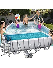 Above Ground Frame Swimming Pool,Backyard Splash Paddling Pools,Rectangular Frame Pool Set with Filter Pump and Solar Cover(Large Size-404 X 201 X 100 Cm)