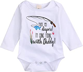 YOUNGER STAR Newborn Infant Baby Boys Girls Summer Cotton Short Sleeve Fishing with Daddy Bodysuit Romper Out