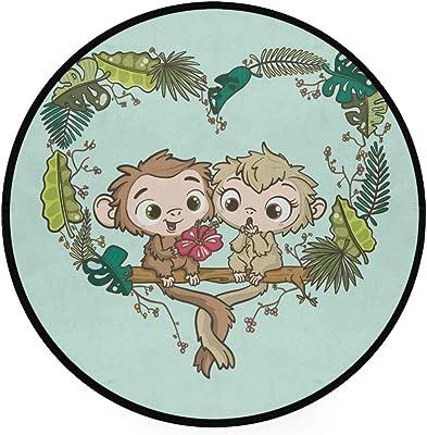 Hand Drawn Couple of Lovely Monkeys Area Rug Round Non-Slip Carpet Living Room Bedroom Bath Floor Mat Home Decor (3 Feet Round)