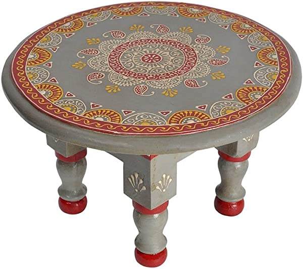 Lalhaveli Round Shape Grey Color Wooden Low Height Coffee Side Table 9 X 9 X 6 Inch