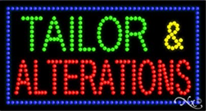 17x32x1 inches Tailor & Alterations Animated Flashing LED Window Sign
