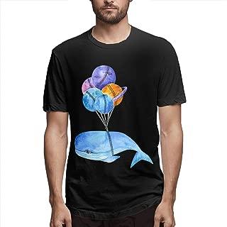 Zoomu Cartoon Whale with BalloonMen's Short Sleeve Standard T-Shirt Slim-fit Short-Sleeve Slub Henley T-Shirt
