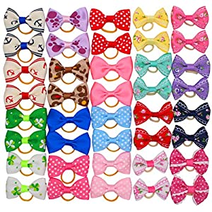YOY 40 Pcs Adorable Grosgrain Ribbon Pet Dog Hair Bows with Elastics Ties – Stretchy Rubber Bands Doggy Kitty Topknot Grooming Accessories Set for Long Hair Puppy Cat