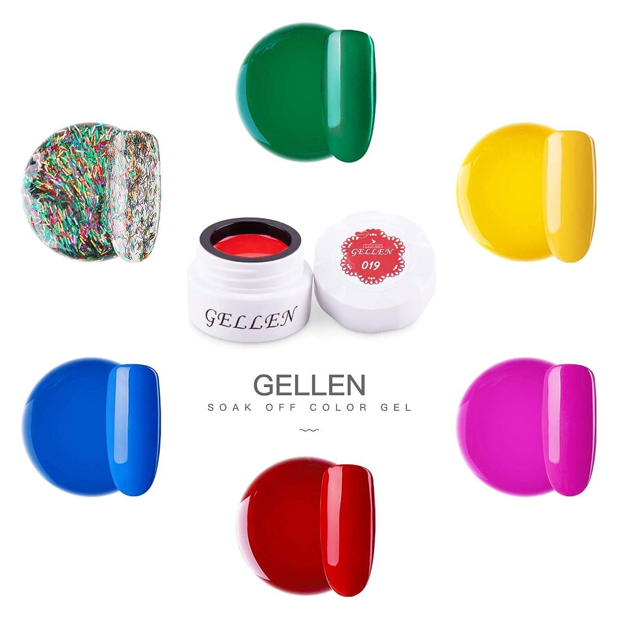 滞在結び目機械的Gellen カラージェル 6色 セット[ネオン カラー系]高品質 5g ジェルネイル カラー ネイルブラシ付き