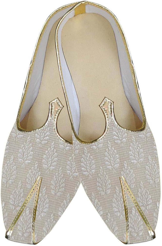 INMONARCH Herren Creme phantasievolle Indische Hochzeit Schuhe MJ0166