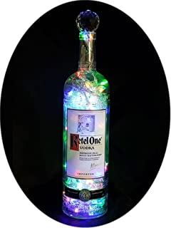 Upcycled Ketel One Mood Therapy Liquor Bottle Light w/100 Multi-Color LED's Topped Off with an Asfour 30% Leaded Clear Crystal Prism Ball