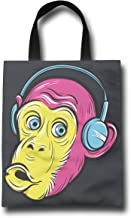 LXXTK Women's Monkey Wearing Headphones Reusable Grocery Shopping Bags Casual Canvas Tote Bags Foldable Party Bag