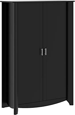 Bush Furniture Aero Tall Storage Cabinet with Doors in Classic Black