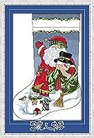 クロスステッチ刺繍キット Awesocrafts クリスマスストッキングサンタクロース雪だるま 図柄印刷 DIY 初心者ホームの装飾 Cross Stitch (ストッキング)