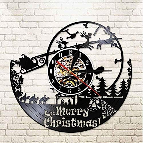 zgfeng Merry Christmas Clock Modern Vinyl Wall Clock Santa Claus Vinyl Wall Clock Creative Home Decoration-With LED