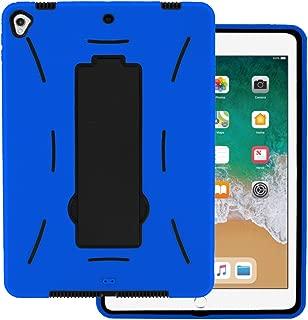 iPad Pro 9.7 2016 case by KIQ Heavy Duty Hybrid Silicone Skin Hard Plastic Cover Screen Protector for Apple iPad Pro 9.7-inch A1673, A1674, A1675 (Black/Blue)