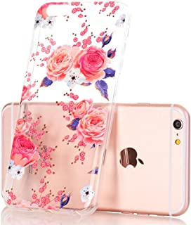 iPhone 6 Plus Case, iPhone 6s Plus Case, Floral Flower Design Clear Case, JDBRUIAN TPU Soft Protective Case Flexible Silicone Glossy Skin Cover Phone Case for iPhone 6 Plus & 6s Plus Pink Roses