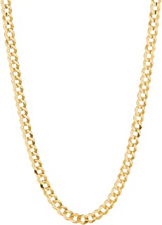 RCI 14K Solid Yellow Gold Comfort Concave Cuban Curb Link Chain Necklace 4.7 Mm Cc120