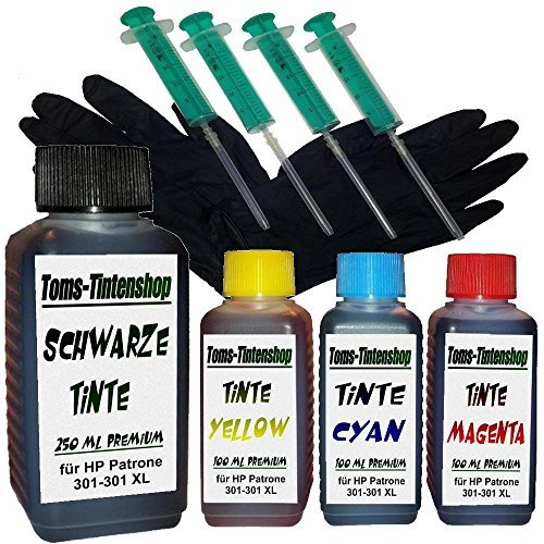 550 ml Premium Tinte 301XL Nachfülltinte für HP 301 Patronen Alle 4 Farben