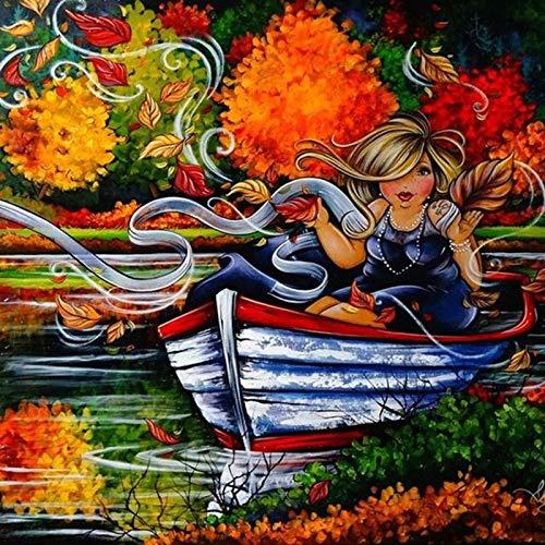 Mujer En Barco 1000 Piezas Rompecabezas para Adultos Juegos De Rompecabezas Difíciles para La Familia Rompecabezas De Cartón Rompecabezas De Desafío Cerebral para Adultos Rompecabezas