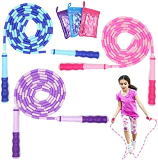 Unigift 3 Pieces Soft Beaded Jump Rope,Adjustable Tangle-Free Segment Jump Rope with Anti-Slip Grip for Keeping Fit Traini...