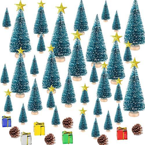 HIQE-FL Mini Pino Alberi con Effetto Neve,Piccoli Alberelli di Natale,Albero di Natale in Miniatura,Base in Legno Albero di Natale,Albero di Natale Innevato Piccolo (Blau)