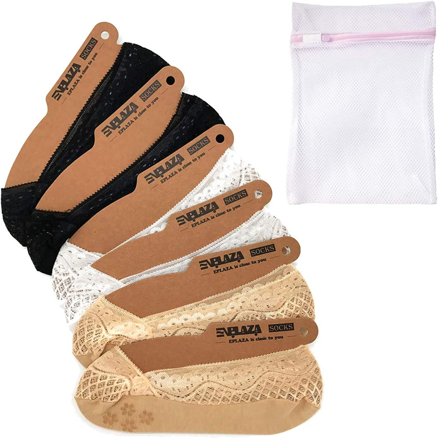EPLAZA 6 Pairs Silicone Grip Women Lace No Show Socks NonSkid + 1 Wash Bag