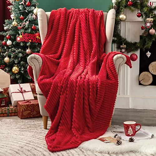 MIULEE Kuscheldecke Fleecedecke Flanell Decke Pompoms Einfarbig Wohndecken Couchdecke Flauschig Überwurf Mikrofaser Tagesdecke Sofadecke Blanket Für Bett Sofa Schlafzimmer Büro 150x200 cm Rot