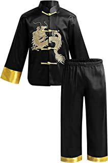 KKmeter Kids Boys Traditional Chinese Kung Fu Outfit Embroidery Dragon Tang Uniform Martial Arts Suits