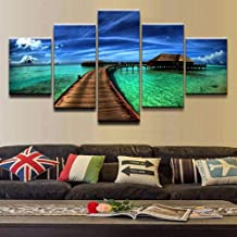 HPPTON Poster 5 Pieces Canvas Print Ocean Sky Tropical Modular Pictures Canvas Wall Art Home Decorative Painting Bedroom -8 x 14/18/22inch,Without frame