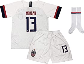 BarleyRe New 2019-2020 Morgan #13 USA Home Soccer Jersey Shorts with Socks for Kids/Youths