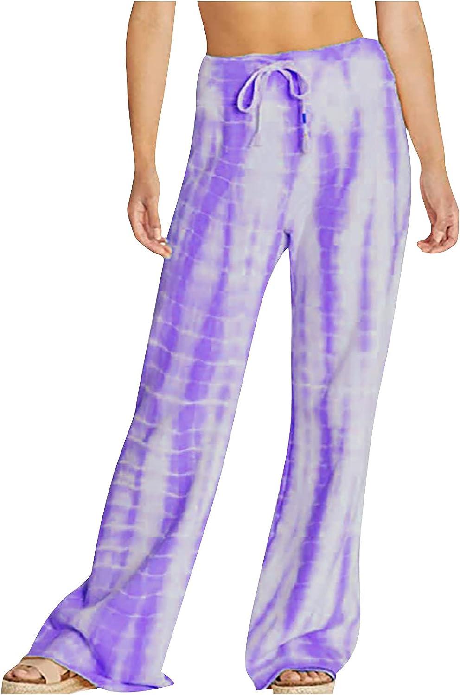 MIVAMIYA Womens Drawstring Wide Leg Palazzo Lounge Pants Loose Comfy Pajama Trouser Flowy Beach Pants Tie Dye Bottoms