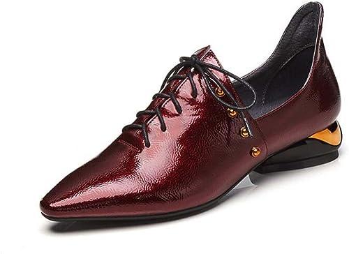 zapatos de Punta Estrecha de mujer zapatos de Tacón bajo zapatos Individuales zapatos Cruzados zapatos de Color negro rojo Talla 34-39 (Color   rojo, Tamaño   38)