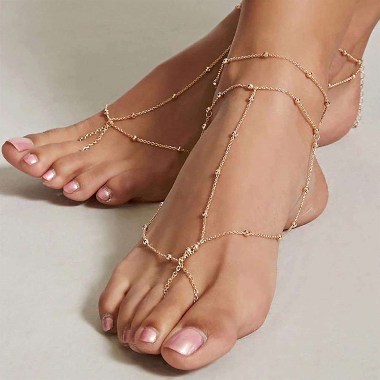 TseanYi Boho Beach service Barefoot Ranking TOP4 Sandals Gold Bracelet Layering Ankle