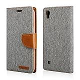 Gütersloher Shopkeeper - Funda con tapa para LG X Power (F750), color gris y marrón