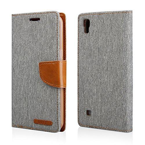 'Etui Housse design élégant style livre Flip Case pourLG X Power (F750) Housse Coque Etui Cover Notebook Case Gris/marron