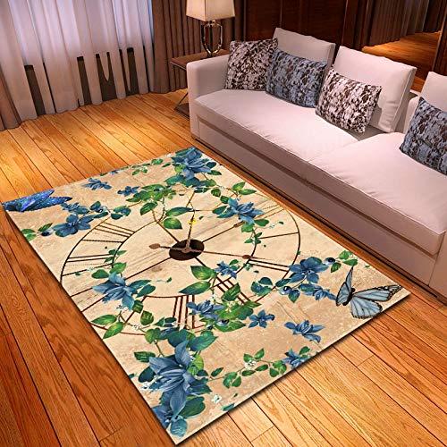 LGXINGLIyidian Teppich Kreative Uhrenkunst 3D Gedruckte Wohnkultur Rutschfester Weicher Kinderkrabbelteppich F1109H 120X180Cm