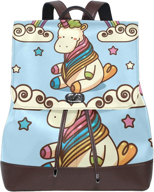 FAJRO Unicorn Rainbow Fairy Cloud Travel Backpack Leather Handbag School Pack