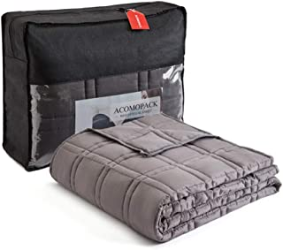 ACOMOPACK Weighted Blanket 15 lbs 60''x 80'' inch for Queen Size Bed Weighted Blanket Adult Men Women with Glass Bead Weight Fillers Double-line Square Quilting 7 Layers
